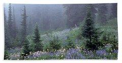 Wildflower Meadow Mt Rainier Beach Towel