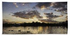 Beach Towel featuring the digital art Wimbledon Sunset by Matt Malloy