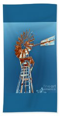 Windmill Rust Orange With Blue Sky Beach Towel