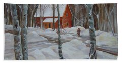 Winter In The Woods Beach Towel by Nancy Griswold
