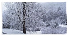 Winter Tree And Fence In The Valley Beach Towel