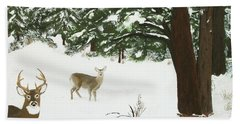 Wintering Whitetails Beach Towel