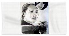 Beach Towel featuring the drawing Woman's Boxing Champion Filipino American Ana Julaton by Jim Fitzpatrick