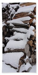 Beach Towel featuring the photograph Wood Pile by Tiffany Erdman