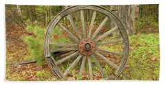 Beach Towel featuring the photograph Wood Spoked Wheel by Sherman Perry