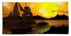Wooden Ships Beach Towel by Robert Orinski