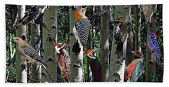 Woodpecker Collage Beach Towel