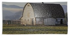 Beach Towel featuring the photograph Wrapped Barn by Mick Anderson