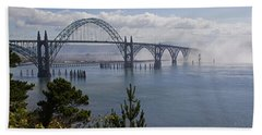 Beach Towel featuring the photograph Yaquina Bay Bridge by Mick Anderson