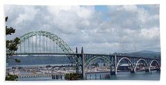 Beach Towel featuring the photograph Yaquina Bay Bridge by Nick Kloepping
