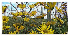 Beach Sheet featuring the photograph Yellow Flowers By The Roadside by Alice Gipson