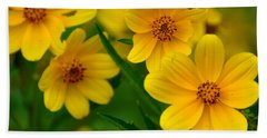 Beach Towel featuring the photograph Yellow Flowers by Marty Koch