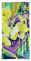 Yellow Orchids Of The Heart Beach Towel