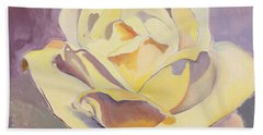 Beach Towel featuring the painting Yellow Rose-1-posthumously Presented Paintings Of Sachi Spohn  by Cliff Spohn