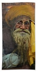 Yellow Turban At The Window Beach Towel by Valerie Rosen