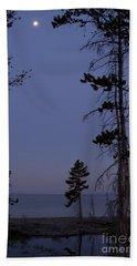 Beach Towel featuring the photograph Yellowstone Lake And Moon by J L Woody Wooden