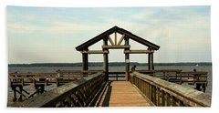 Yorktown Pier Beach Sheet by Karen Harrison