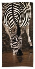 Beach Towel featuring the painting Zebra by Karen Zuk Rosenblatt