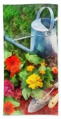 Zinnias And Watering Can Beach Towel