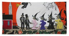 Beach Towel featuring the painting  A Halloween Wedding by Jeffrey Koss