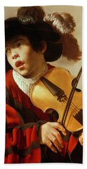 Boy Playing Stringed Instrument And Singing Beach Towel