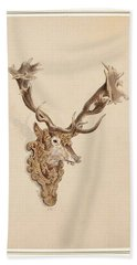 Beach Towel featuring the painting , Buck Head by Artistic Panda