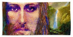 Contemporary Jesus Painting, Chalice Of Life Beach Towel