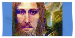 Contemporary Jesus Painting, Chalice Of Life Beach Towel by Jane Small