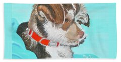 Beach Towel featuring the painting  Cute Little Puppy by Phyllis Kaltenbach