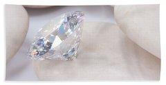 Diamond On White Stone Beach Towel by Atiketta Sangasaeng