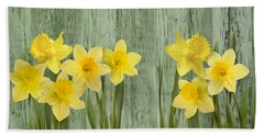 Fresh Spring Daffodils Beach Sheet