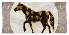 Horse Prancing Abstract Graphic Filled Cartoon Humor Faces Download Option For Personal Commercial  Beach Towel by Navin Joshi