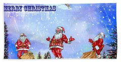 Merry Christmas To My Friends In The Faa Beach Towel by Andrzej Szczerski