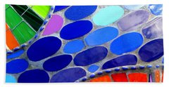 Mosaic Abstract Of The Blue Green Red Orange Stones Beach Towel