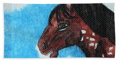 Beach Towel featuring the painting  Spirit Of The Appaloosa by Amy Gallagher