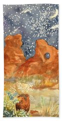 Starry Night In The Desert Beach Towel