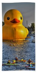 014 Worlds Largest Rubber Duck  At Canalside 2016 Beach Towel