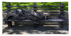 02 Homeless Jesus By Timothy P Schmalz Beach Towel by Michael Frank Jr