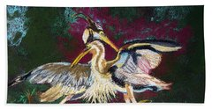 021916 Blue Heron's Dance Beach Towel