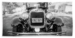 Beach Towel featuring the photograph 1929 Ford Model A Tudor Police Sedan Bw by Rich Franco