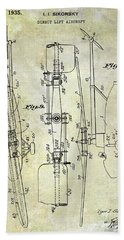 1935 Helicopter Patent  Beach Towel by Jon Neidert