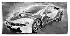 Beach Towel featuring the photograph 2015 Bmw I8 Hybrid Sports Car Bw by Rich Franco