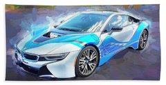2015 Bmw I8 Hybrid Sports Car Beach Sheet by Rich Franco