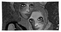 Beach Towel featuring the digital art 451 - To Lean On by Irmgard Schoendorf Welch