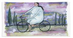 A Beautiful Day For A Ride Beach Sheet by Leanne WILKES