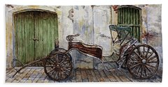 Beach Towel featuring the painting A Carriage On Crisologo Street 2 by Joey Agbayani