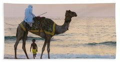 Little Boy Stares In Amazement At A Camel Riding On Marina Beach In Dubai, United Arab Emirates -  Beach Towel