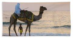 Little Boy Stares In Amazement At A Camel Riding On Marina Beach In Dubai, United Arab Emirates -  Beach Towel