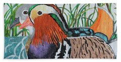 Beach Towel featuring the painting A Lovely Pair by Amy Gallagher