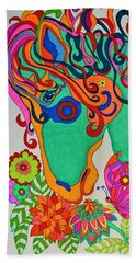 Beach Towel featuring the painting A Rainbow Called Romeo by Alison Caltrider